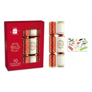 Christmas Crackers x 10 RED & WHITE
