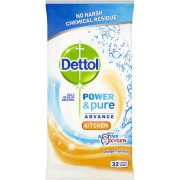 Dettol Power and Pure Kitchen Wipes 32 Pack