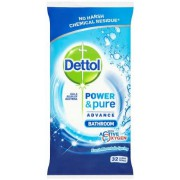 Dettol Power and Pure Bathroom Wipes 32 Pack