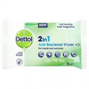 Dettol 2 in 1 Anti-Bacterial 15 Wipes